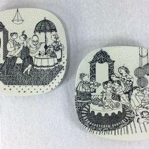 Bjorn Wiinblad Nymolle Denmark Set of 2 Plates